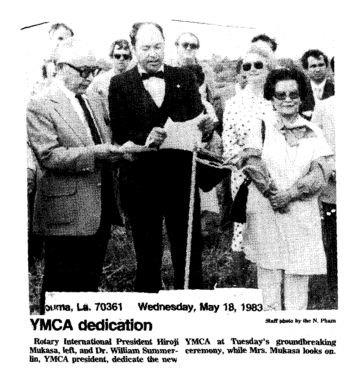 YMCA Dedication May 18 1983